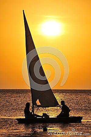Free Yacht Sailing At Sunset Royalty Free Stock Photo - 15334395