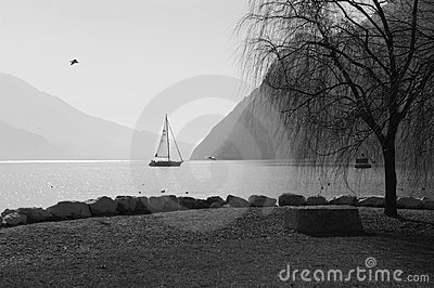 Yacht sailing on lake Garda