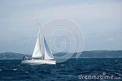 Yacht sailing on open seas