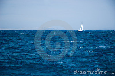 Yacht sailing on open seas