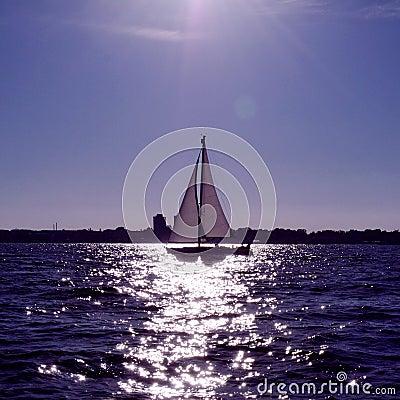 Yacht sailing at sea