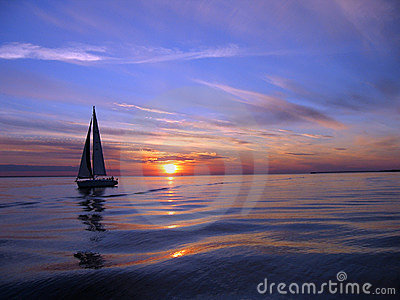 Yacht Sailing At Sunset Royalty Free Stock Photos - Image: 251878