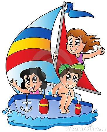 Yacht with three kids