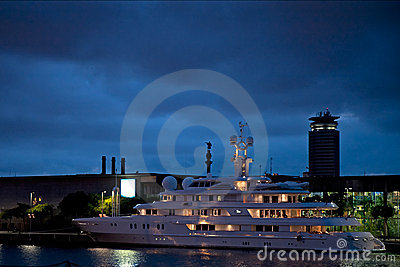 Yacht TUEQ in the port of Barcelona, Spain Editorial Image