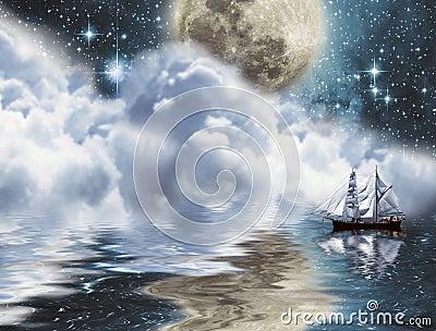 Yacht under moon