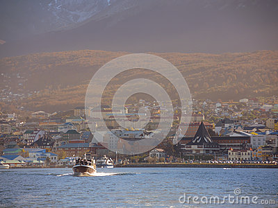 Yacht in the Ushuaia bay Editorial Photography
