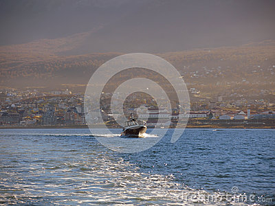 Yacht in the Ushuaia bay Editorial Stock Photo