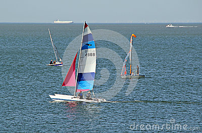 Yachting and shipping lane Editorial Stock Photo