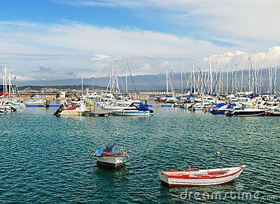 Yachts and boats in harbor