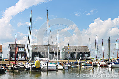 Yachts in  harbor of the island Marken.
