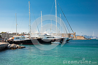 Yachts in a harbour. Greece, Rhodes.