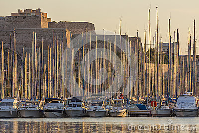 Yachts in Marseille Harbor - French Riviera