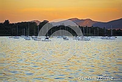 Yachts moored at sunset