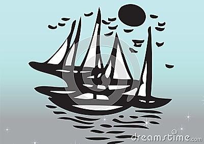 Yachts sailing in sea