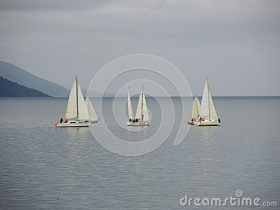Yachts in a stormy cloudy day Editorial Image