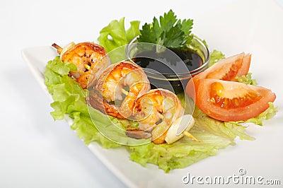 Yakitori with shrimp