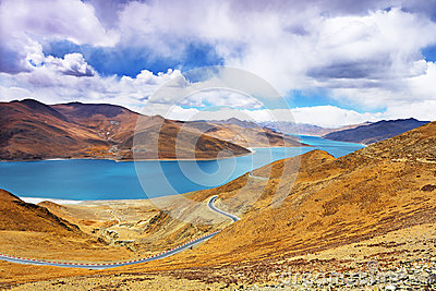 Yamdrok lake in Tibet, China