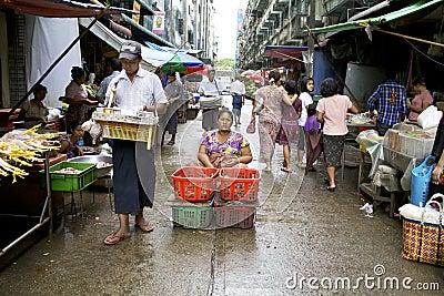 Yangon Myanmar Street Vendors Editorial Stock Image