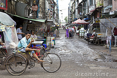 Yangon Myanmar Street Vendors Editorial Stock Photo