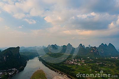 Yangshuo Aerial View Karst Formations