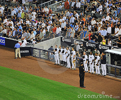 Yankees dunring god bless america song Editorial Stock Photo