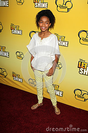 Yara Shahidi arriving at the Premiere Of Disney Channel s   Editorial Image