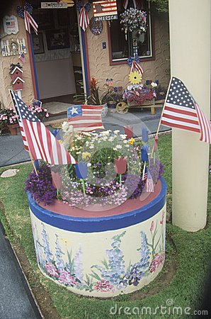 Yard decorated with American flags