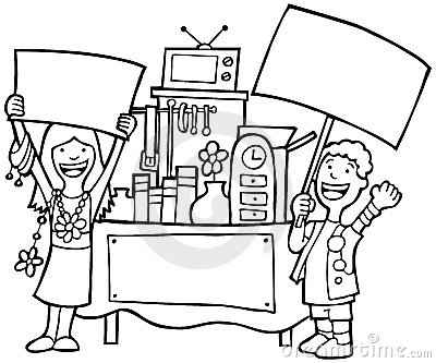 Rummage Sale Black And White Clipart