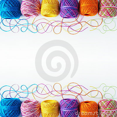 Yarn coils on white
