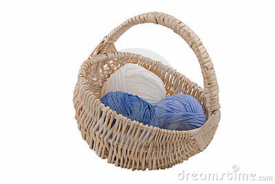 Yarn in wicker basket