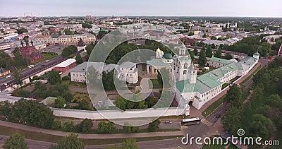 Yaroslavl, Rusia Reconocimiento aéreo del Kremlin en la ciudad de Yaroslavl almacen de metraje de vídeo