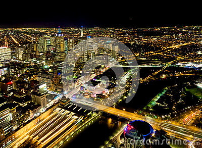 Yarra river and melbourne at night
