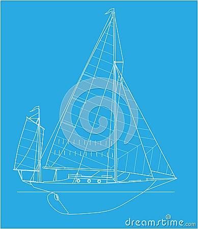 Yawl vector drawing
