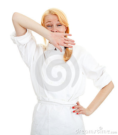 Yawning female cook