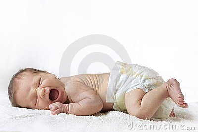 Yawning infant baby