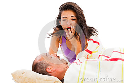 Yawning Woman Snoring Man