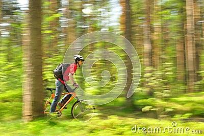 Сyclist, racing through the woods