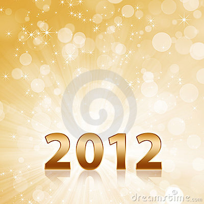 Year 2012 abstract gold sparkling background