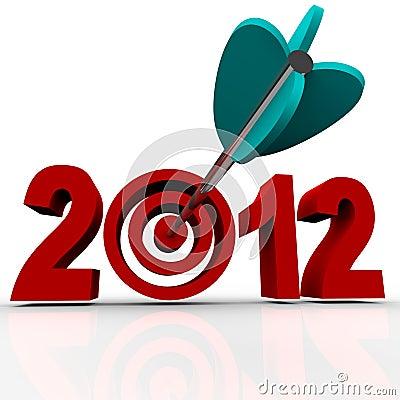 Year 2012 with Arrow in Target Bulls-Eye
