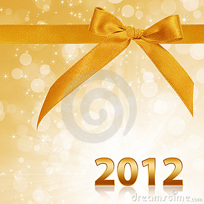 Year 2012 with gold sparkling background