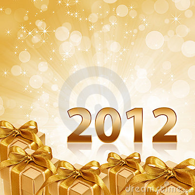 Year 2012 gold sparkling background and gift