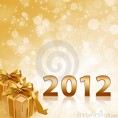 Year 2012 gold sparkling background and gold gift