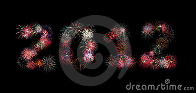 The year 2012 written in fireworks
