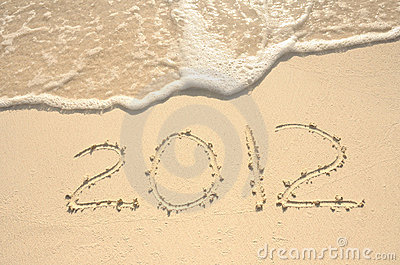 The Year 2012 Written in Sand on Beach