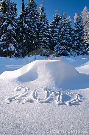 Year 2012 written in Snow