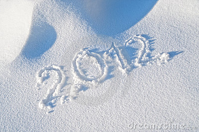 Year 2012 written in the Snow