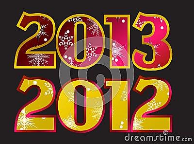 Year 2012, year 2013 Vector