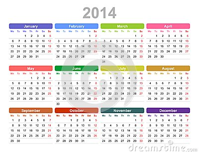 2014 year annual calendar (Monday first, English)