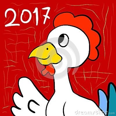 Year Of The Chicken Cartoon Illustration