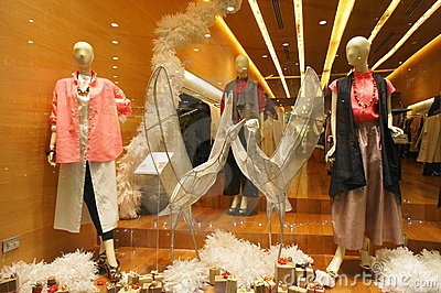 Year End Boutiques Windows Mannequins Editorial Stock Image
